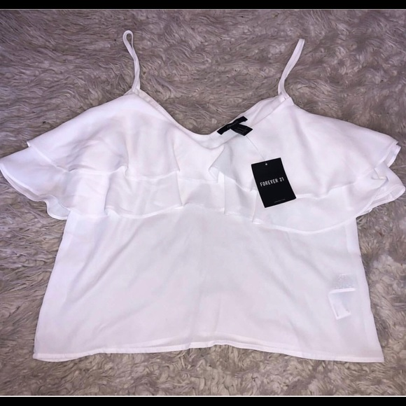 Forever 21 Tops - White open shoulder blouse